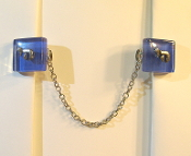 Sapphire Blue Glass Tallit Clips with Chai Charm