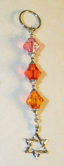Magenta, Red, and Orange Crystal Key Chain