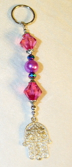 Pink Crystals and Pearls with Iridescent Crystals Key Chain