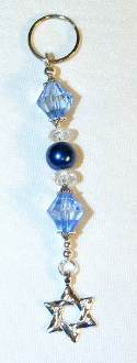 Lt Sapphire and Blue Pearl Key Chain