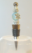 Aqua Crystal with Sparkle Beads Wine Bottle Stopper