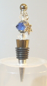 Sapphire and Clear Crystals Wine Bottle Stopper