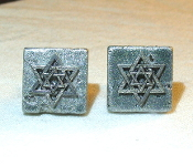 Silver Star of David on Silver Ceramic Tile Cuff Links