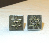 Silver Star of David on Black Marble Tile Cuff Links