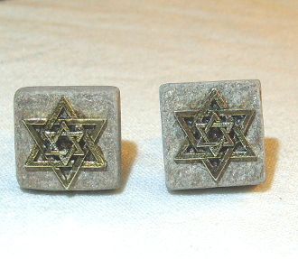 Gold Star of David on Silver Slate Cuff Links