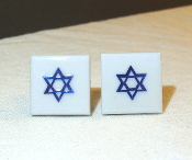 Blue Star of David on White Ceramic Base Cuff Links
