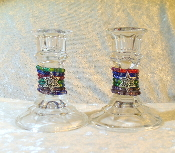 Beaded Candlestick Holders - Mixed Colors
