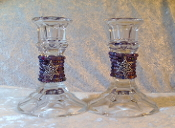 Beaded Candlestick Holders - Mixed Purples