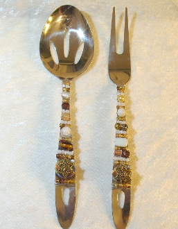 Beaded Salad Servers - Milk and Honey