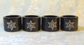 Napkin Rings - Black Lacquer with Silver Star of David