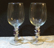 White and Purple Beaded Wine Glasses