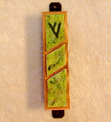 Copper Enamel Mezuzah - Spring Green