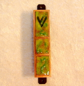 Copper Enamel Mezuzah - Green Leaf