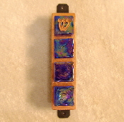 Glass Tile Mezuzah - Iridescent Blue on Copper