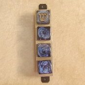 Glass Tile Mezuzah - Iridescent Mixed Blue Colors on Black Tile