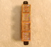 Glass Tile Mezuzah - Clear with Iridescent Finish on Copper Base