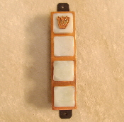 Glass Tile Mezuzah - Pearlescent White on Copper