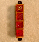 Glass Tile Mezuzah - Ruby Red on Copper