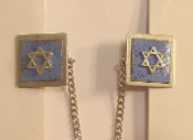 Copper Enamel Tallit Clips - Blue