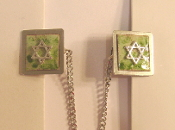 Copper Enamel Tallit Clips - Green