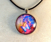 Glass Pendant - Butterflies with Star of David