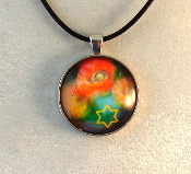 Glass Pendant - Poppies with Star of David