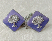 Copper Enamel Tallit Clips - Purple with Silver Tree of Life