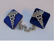 Copper Enamel Tallit Clips - Caduceus